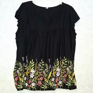 NWT Old Navy  floral painted flutter sleeve  XXL